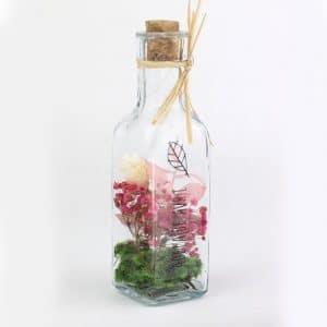 Bouteille en verre fleurs séchées Ø5 H 18,5 cm