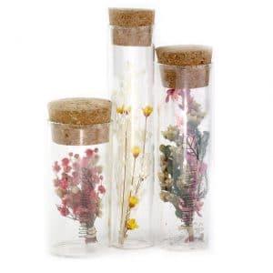 Fioles en verre fleurs séchées Ø3 H 8 à 10 cm