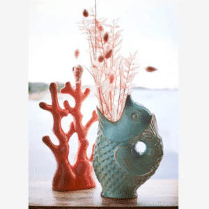 Matt Green Stoneware Fish Vase