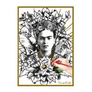 Frida Kahlo affiche à colorier